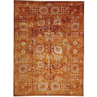 Hand-knotted Tone On Tone Wool And Silk Orange Tabriz Wool and Silk Area Rug (8'10 x 11'10)