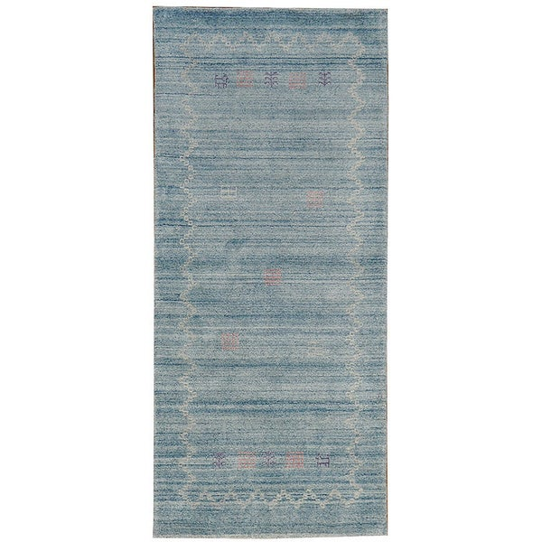 Hand-woven Sky Blue Folk Art Gabbeh Wool Area Rug (2'8 x 6')