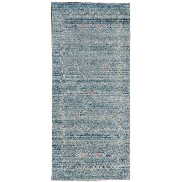 Hand-woven Sky Blue Folk Art Gabbeh Wool Area Rug (2'8 x 6')
