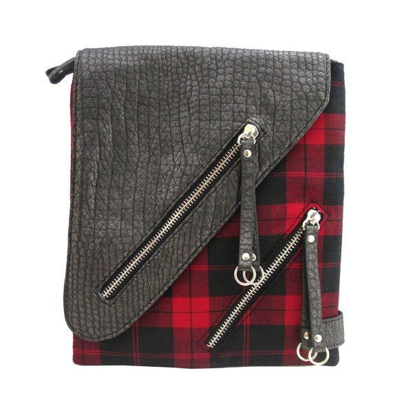 Olivia Miller Multi Zip Plaid Crossbody Bag