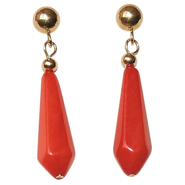 14k Goldfill Teardrop Coral Dangle Earrings