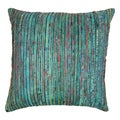 Blazing Needles 20-inch Teal Rainbow Yarn Threading Throw Pillow