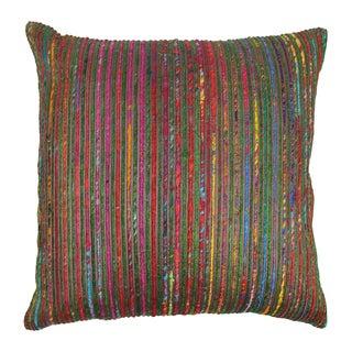 Blazing Needles 20-inch Bronze Rainbow Yarn Threading Throw Pillow