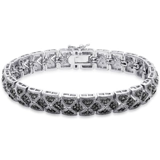 Finesque Silver Overlay 1/4 ct TDW Black Diamond Lattice Design Bracelet (Black, I2-I3)