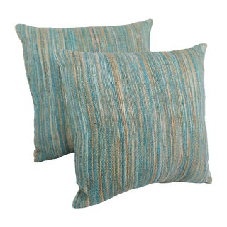 Blazing Needles 20-inch Blue/ Beige Striped Woven Yarn Pillows (Set of 2)