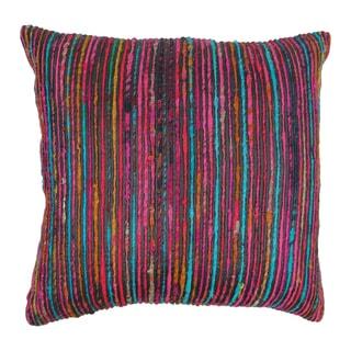 Blazing Needles 20-inch Black Rainbow Yarn Threading Throw Pillow