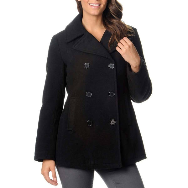 Excelled Women's Double Breasted Pea Coat Size Medium Black (As Is Item)