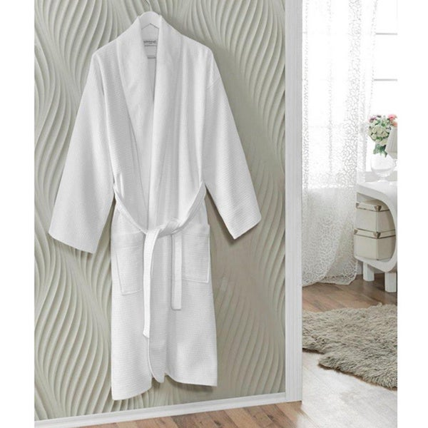 Salbakos Spa White Turkish Cotton Bath Robe Size Small/Medium (As Is Item)