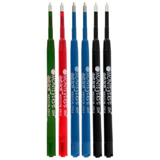 Monteverde Refill for Parker Ball Pens (Medium, 2 Black, 2 Blue, 1 Red, 1 Green)