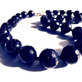 Madame Earth Brilliant-cut Blue Goldstone Necklace and Button Style Stud Earrings Set