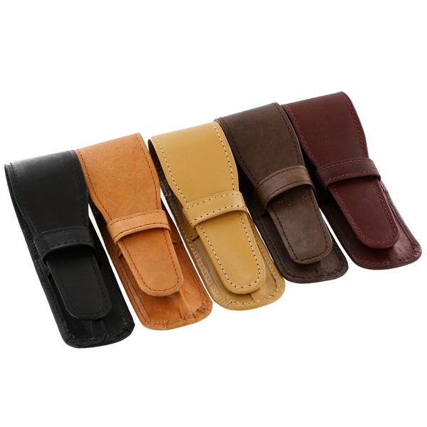 Genuine Leather Single Leather Pen (Case Pouches Assorted, 10/Pack)