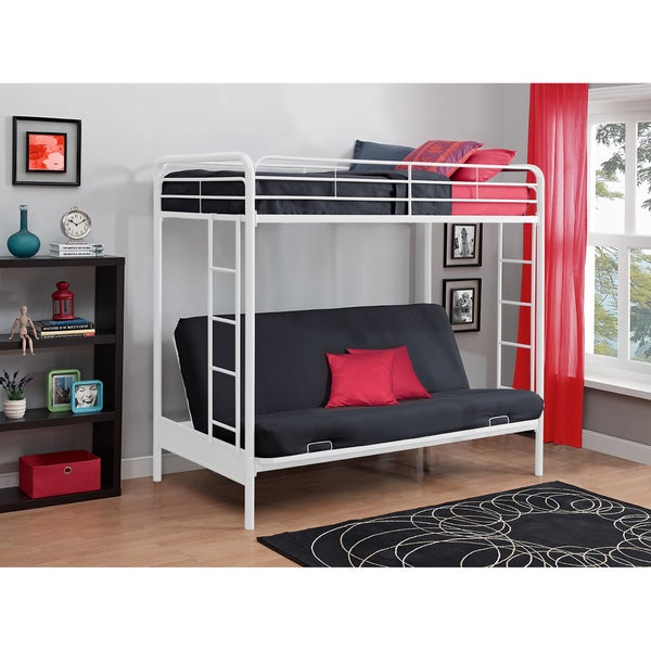 DHP Twin-over-Futon White Metal Bunk Bed