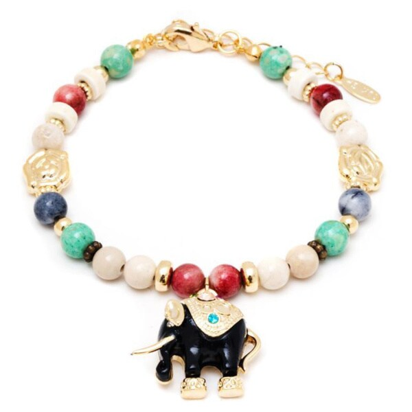 18k Gold Overlay Multicolored Crystals Elephant Charm Bracelet