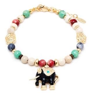 18k Gold Overlay Multicolored Crystals Elephant Charm Bracelet