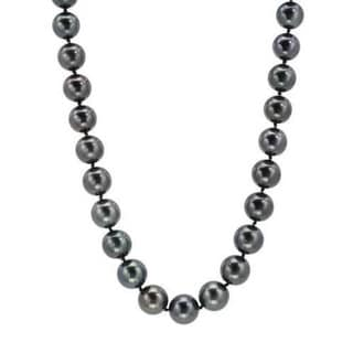 Faux Black Pearl Strand (12-14mm) with Diamond-accented 14K White Gold Clasp (As Is Item)