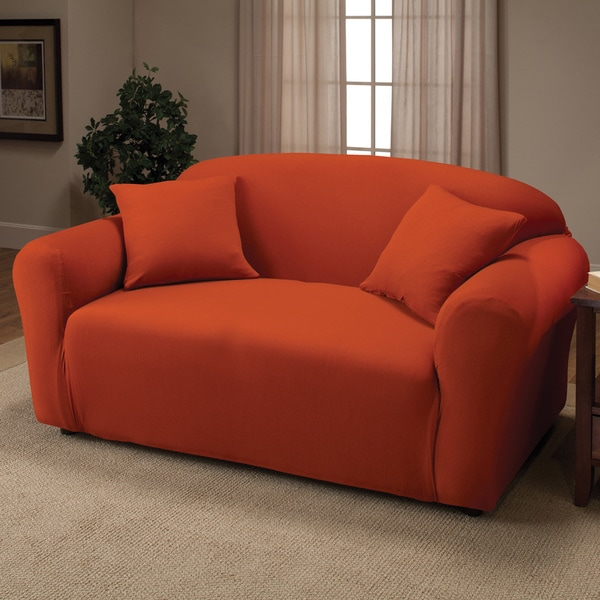 Stretch Jersey Tangerine Loveseat Slipcover (As Is Item)