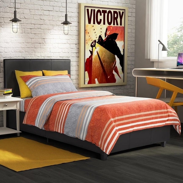 DHP Maddie Black Faux Leather Upholstered Twin Bed