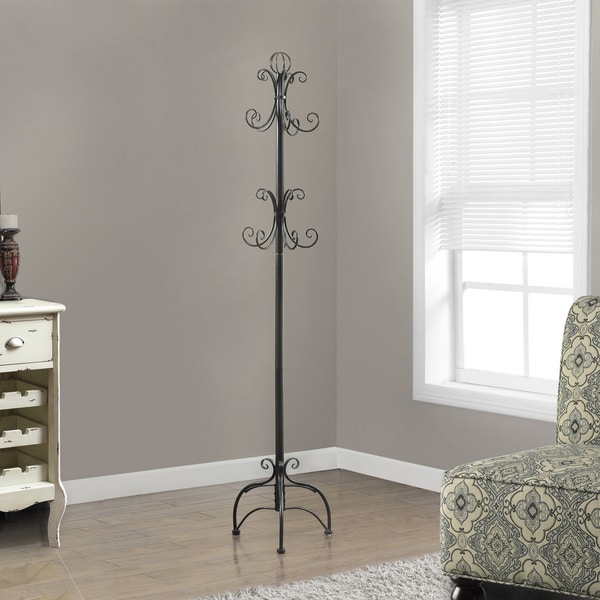 Metal Chocolate Brown 8-hook Coat Rack