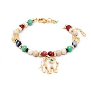 18k Gold Overlay Multicolored Crystal White Elephant Charm Bracelet
