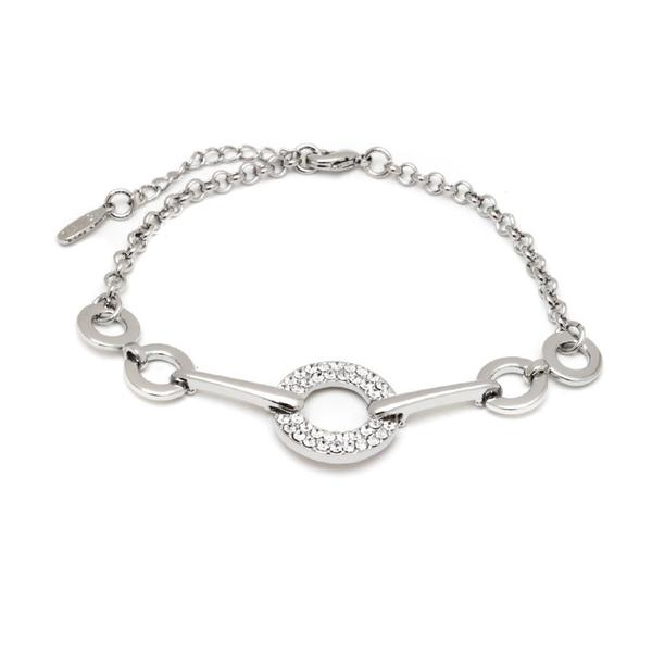 Rhodium-plated White Crystal Elements Open Circle Link Bracelet