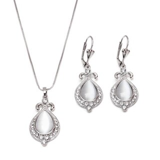 Rhodium-plated Silver Crystal Elements Teardrop Drop Earrings and Pendant Necklace Set