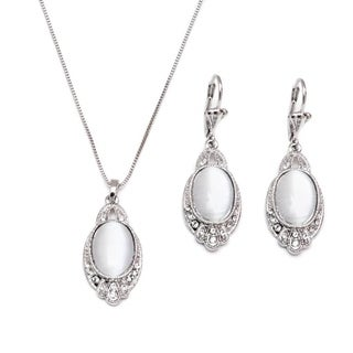 Rhodium-plated Silver Crystal Elements Round Drop Earrings and Necklace Set