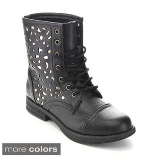 Qupid Women's Seattle-18 Perforated Military Mid-calf Boots