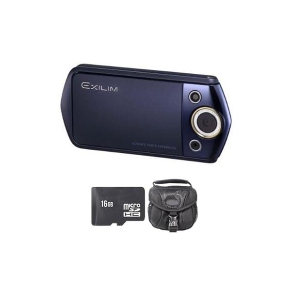 Casio Exilim EX-TR15 12.1MP Blue Digital Camera 16GB Bundle
