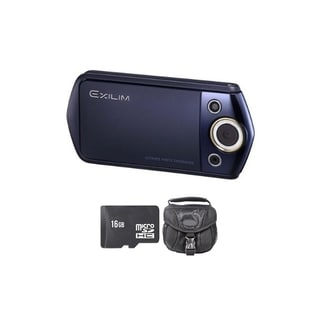 Casio Exilim EX-TR15 12.1MP Blue Digital Camera 16GB Bundle
