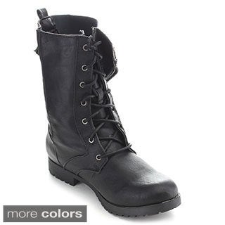 Qupid Wyatte-19 Women's Military Combat Mid-Calf Boots
