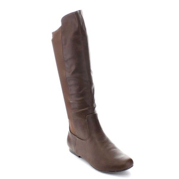 Qupid NEO-154X Women's Two Tone Knee High Riding Boots