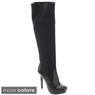 Bumper Gilly101 Women Stiletto Knee High Boots with Back Lace Detail