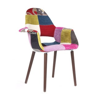 Organic Accent Chair Upholstered with Patchwork Fabric