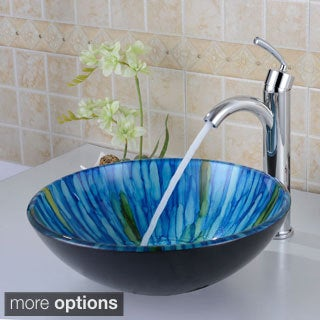 ELITE Blue Hand-painted Tempered Glass Vessel Sink and Faucet Combo