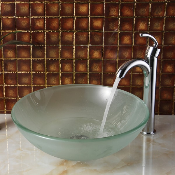 ELITE Frosted Tempered Glass Bathroom Vessel Sink With Faucet Combo