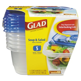 Glad GladWare Soup and Salad Food Storage Containers 24-ounce (Pack of 5)