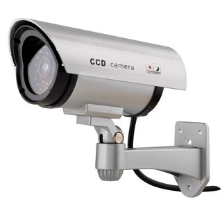 INSTEN Silver Simulated Surveillance Security Camera With LED Surveillance Bullet CCTV