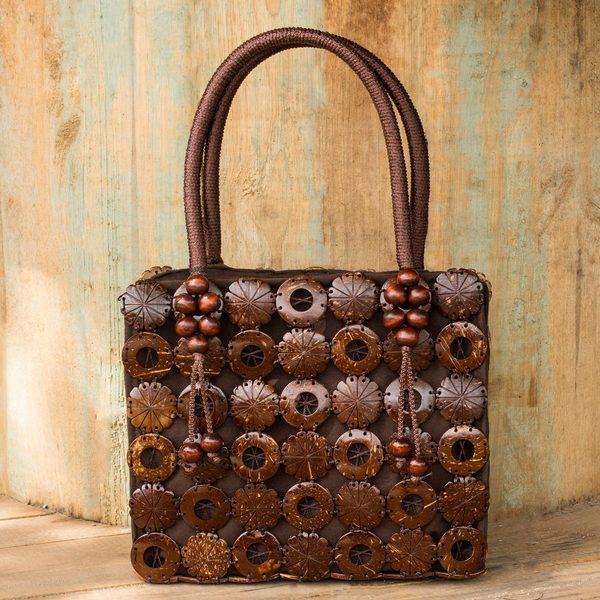 Hand-crafted Coconut Shell 'Thai Coconut' Brown Cotton Handbag (Thailand)