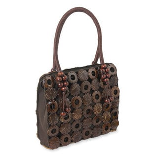 Hand-crafted Coconut Shell 'Thai Coconut' Brown Cotton Handbag (Thailand)