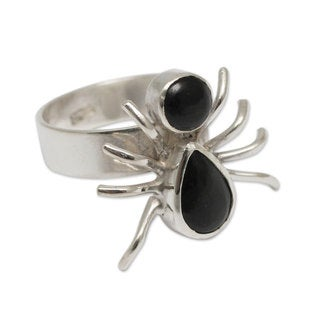 Handcrafted Sterling Silver 'Little Spider' Obsidian Ring (Peru)