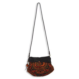 Leather Accent Embroidered 'Mandarin Smile' Shoulder Bag (Thailand)