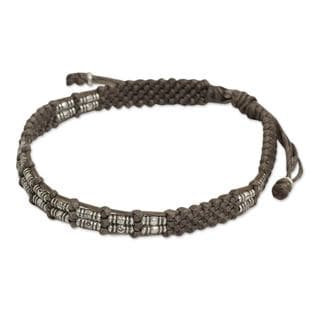 Hand-crafted Silvertone Beaded 'Affinity In Taupe' Cord Bracelet (Thailand)