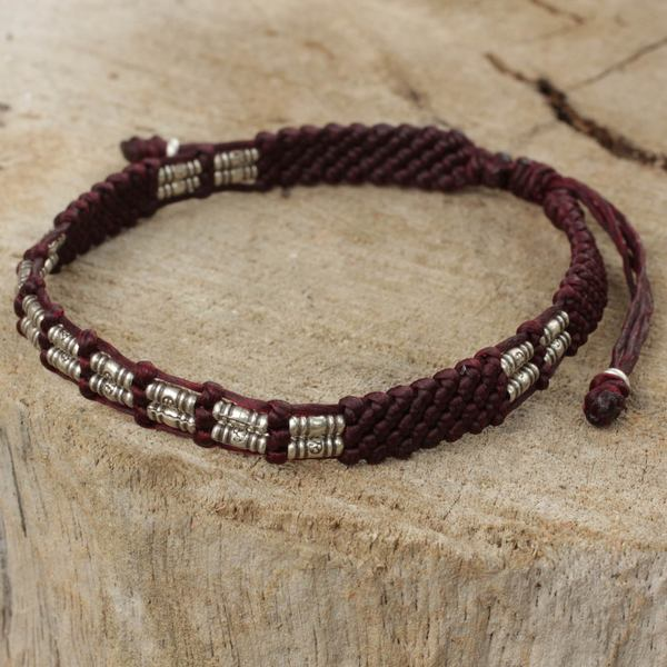 Handcrafted Silver 'Affinity In Brown' Beaded Cord Bracelet (Thailand)