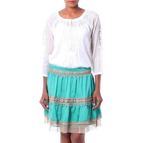Handcrafted Viscose 'Ruffled Green' Skirt (India)