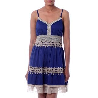 Handcrafted Viscose 'Lapis Lady' Dress (India)