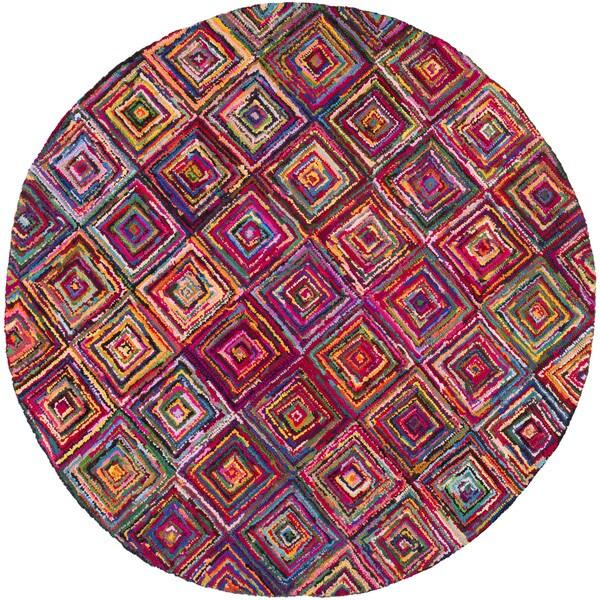 Hand Hooked Jillian Geometric Multi Colored Cotton