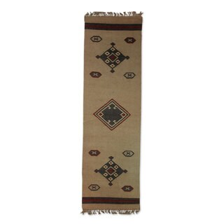 Indo Hand-crafted 'Desert Dawn' Brown/ Grey Jute Dhurrie Rug (2'6 x 7'6)