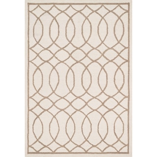 Hand-hooked Hannah Ivory/ Taupe Rug (3'6 x 5'6)