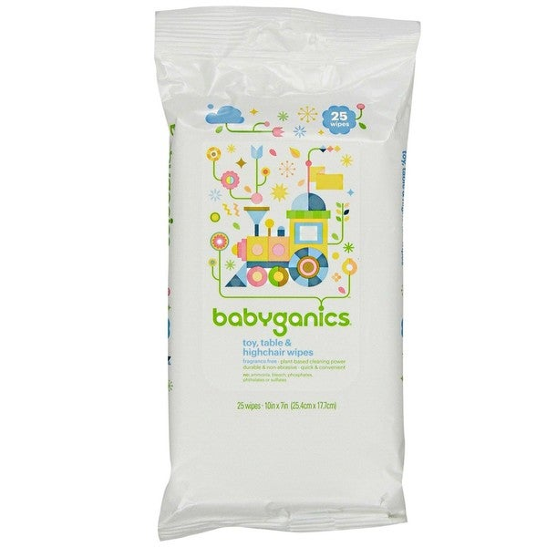 Babyganics Toy/Table/Highchair Wipes Fragrance- (Pack of 25) 14662724