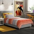 DHP Maddie Grey Linen Upholstered Twin Bed